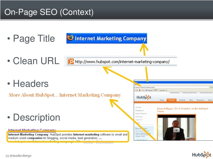 On-Page SEO (Context)   • Page Title  • Clean URL  • Headers   • Description   13 @markroberge