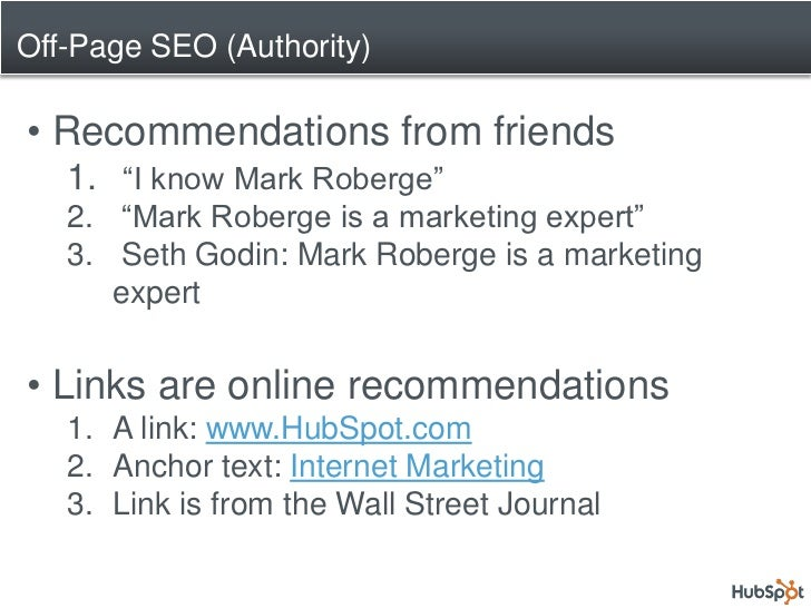 """Off-Page SEO (Authority)  • Recommendations from friends    1. """"I know Mark Roberge""""    2. """"Mark Roberge is a marketing ex..."""
