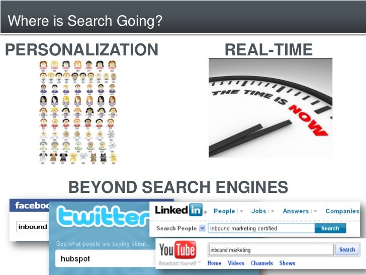 Where is Search Going?  PERSONALIZATION          REAL-TIME             BEYOND SEARCH ENGINES