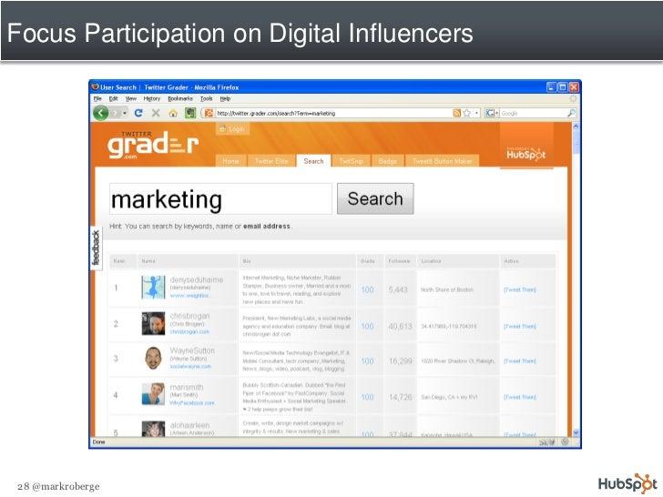 Focus Participation on Digital Influencers     28 @markroberge