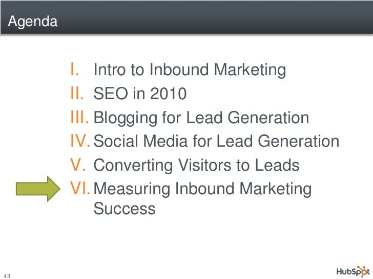 Agenda             I. Intro to Inbound Marketing           II. SEO in 2010           III. Blogging for Lead Generation    ...