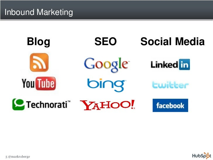 Inbound Marketing               Blog    SEO   Social Media     5 @markroberge