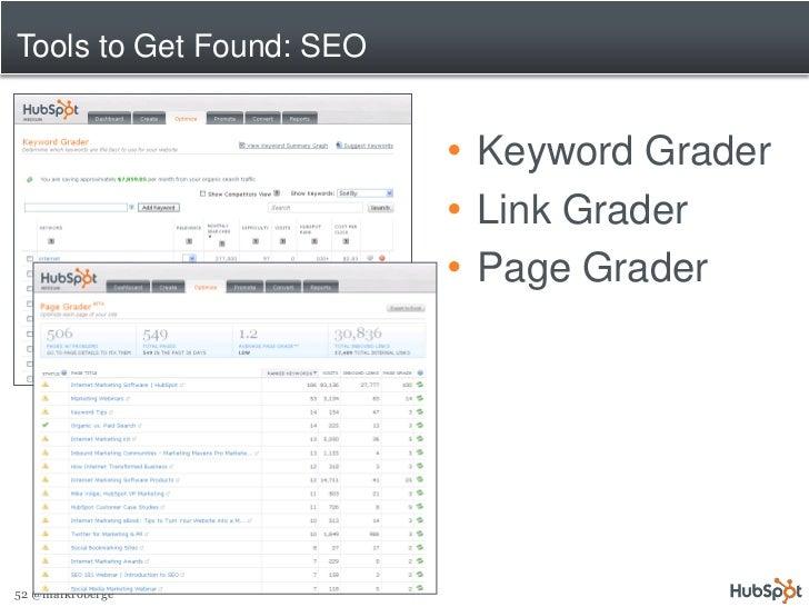 Tools to Get Found: SEO                             • Keyword Grader                           • Link Grader              ...