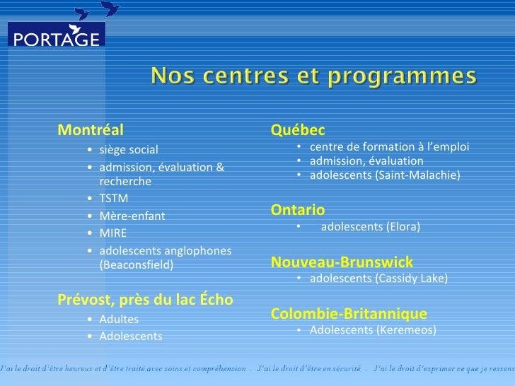 Réadaptation en toxicomanie pour adolescents - Portage à Saint-Malachie Slide 3
