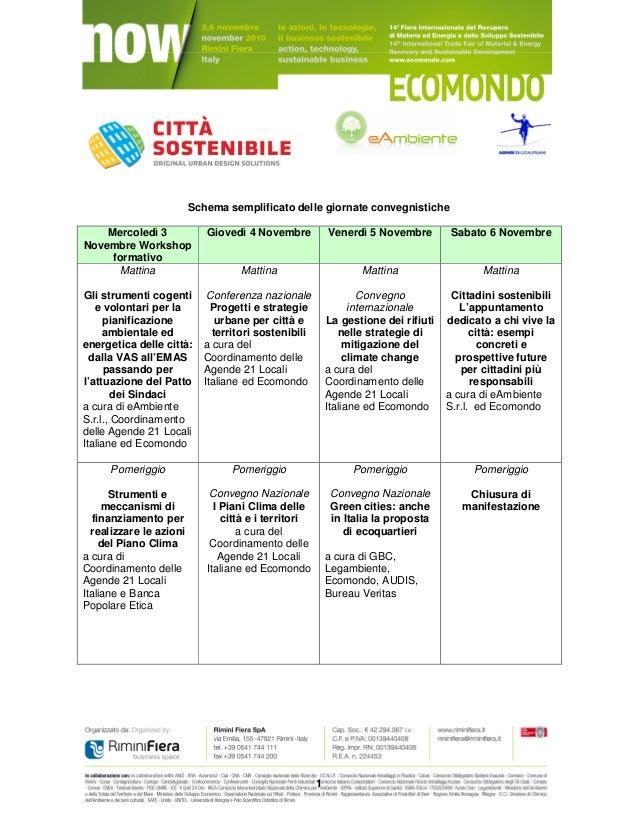 1 Schema semplificato delle giornate convegnistiche Mercoledì 3 Novembre Workshop formativo Giovedì 4 Novembre Venerdì 5 N...