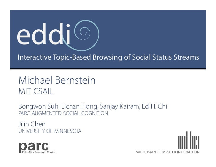 eddiInteractive Topic-Based Browsing of Social Status StreamsMichael BernsteinMIT CSAILBongwon Suh, Lichan Hong, Sanjay Ka...