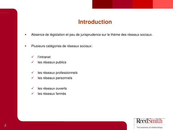 Nicolas C. Sauvage - REEDSMITH - Conference Media Aces Octobre 2010 Slide 2