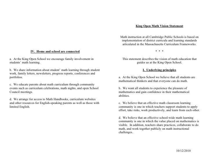 King Open Math Vision Statement                                                                             Math instructi...