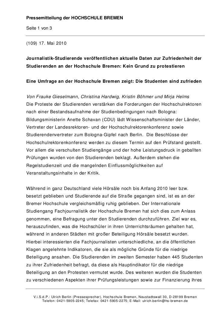 Pressemitteilung der HOCHSCHULE BREMENSeite 1 von 3(109) 17. Mai 2010Journalistik-Studierende veröffentlichen aktuelle Dat...
