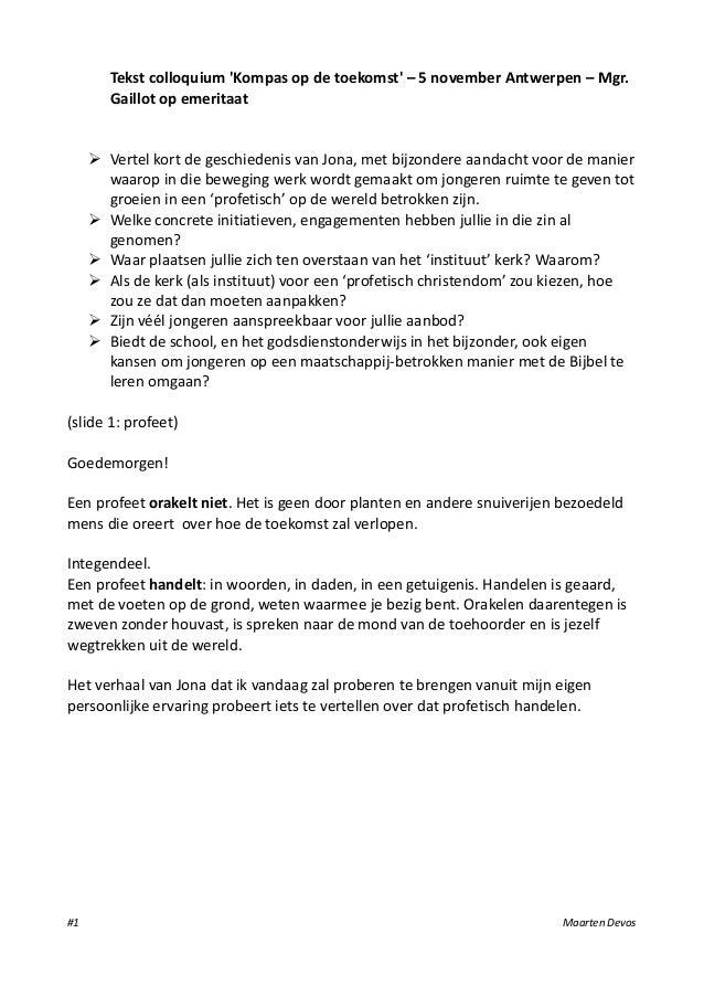 Tekst colloquium Kompas op de toekomst – 5 november Antwerpen – Mgr.        Gaillot op emeritaat      Vertel kort de gesc...