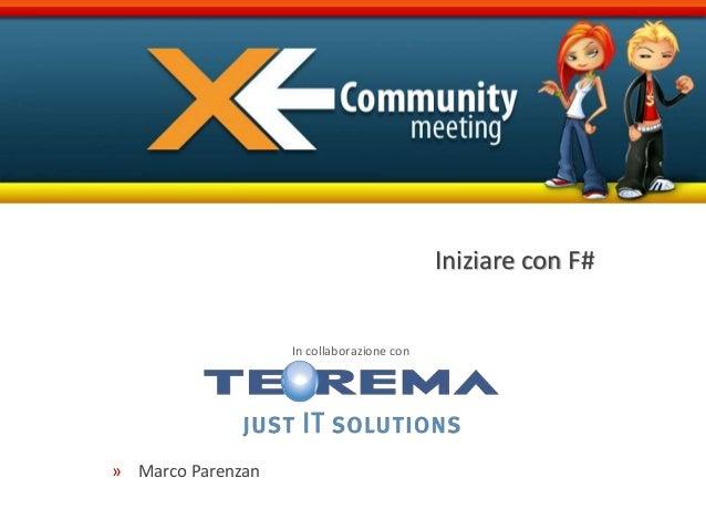 In collaborazione con Iniziare con F# » Marco Parenzan