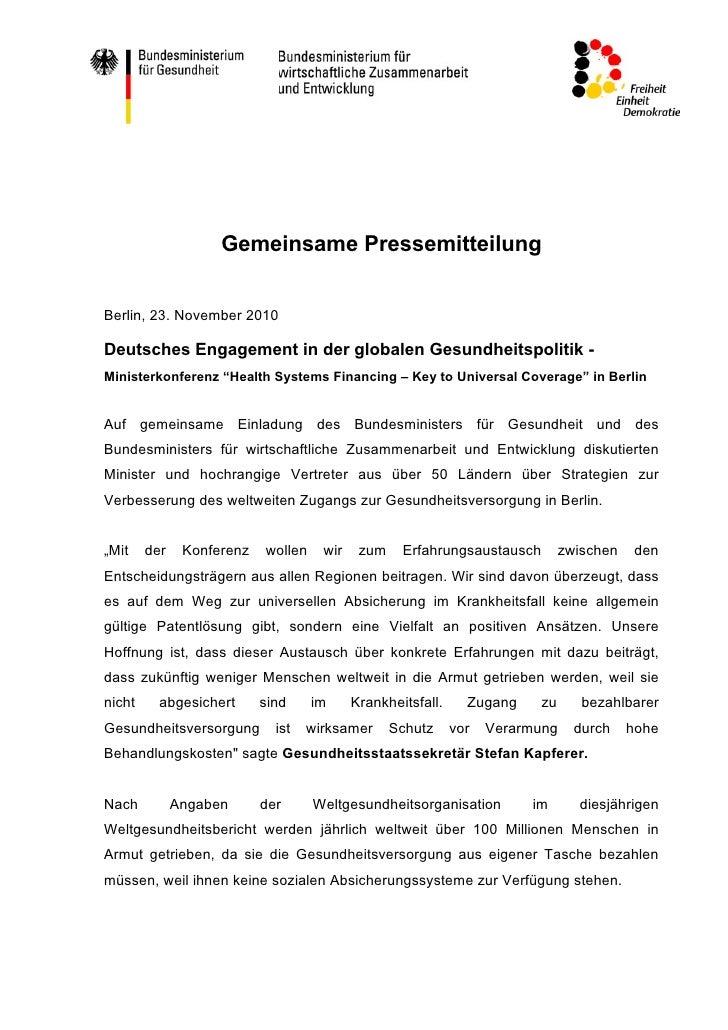 Gemeinsame PressemitteilungBerlin, 23. November 2010Deutsches Engagement in der globalen Gesundheitspolitik -Ministerkonfe...
