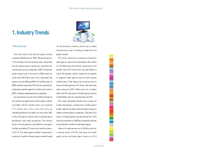 2010 White Paper on Korean Games1. Industry Trends1) Market Scale                                            on the domest...