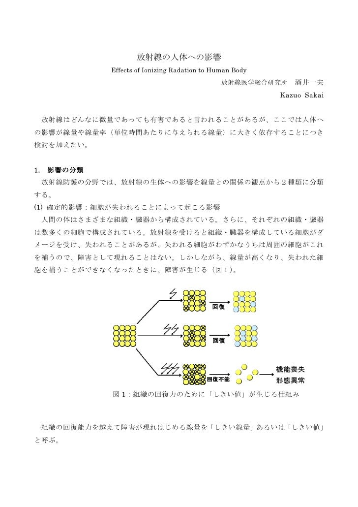 放射線の人体への影響              Effects of Ionizing Radation to Human Body                                                放射線医学総合研...