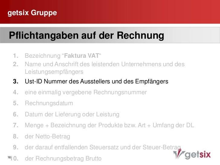 """Fehlende Bezeichnung """"Faktura VAT"""":  </li></ul>- ungültige AR- Recht auf Vorsteuerabzug entfällt<br />- Gefahr Zahlun..."""