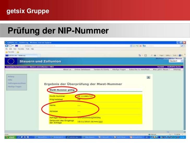 NIP-Nummer und Steuer-Nummer des Unternehmens       sind in PL identisch