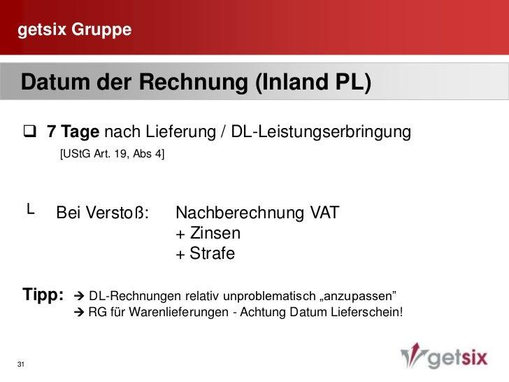 """getsix Gruppe<br />27<br /> Pflichtangaben auf der Rechnung<br />  1.    Bezeichnung""""Faktura VAT""""<br />  2.    Name und An..."""