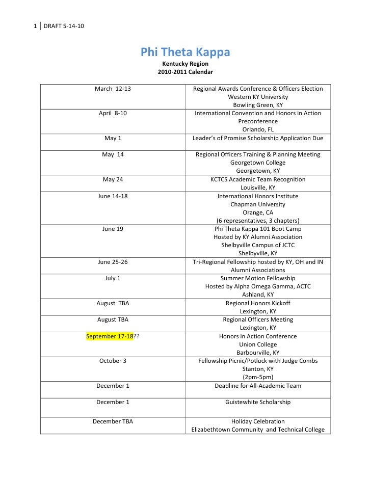 Phi Theta Kappa <br />Kentucky Region<br />2010-2011 Calendar<br />March  12-13Regional Awards Conference & Officers Elect...