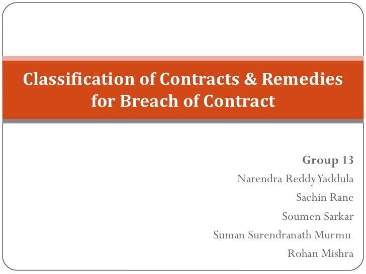 Group 13 Narendra Reddy Yaddula Sachin Rane Soumen Sarkar Suman Surendranath Murmu Rohan Mishra Classification of Contrac...