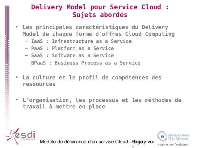 Modèle de délivrance d'un service Cloud - thierry.vonfelt@esdi.frPage Membre co-fondateur Delivery Model pour Service Clou...