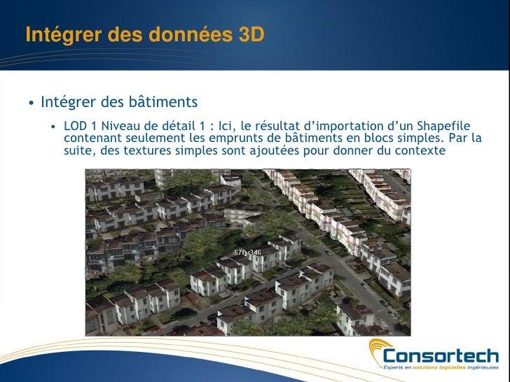 Intégrer des données 3D• Intégrer des bâtiments   • LOD 1 Niveau de détail 1 : Ici, le résultat d'importation d'un Shapefi...