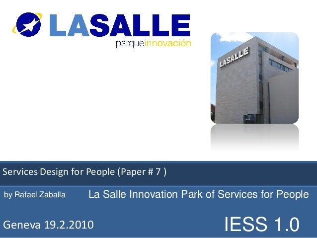 Services Design for People (Paper #innovación                      Parque de 7 )by Rafael Zaballa   La Salle Innovation Pa...