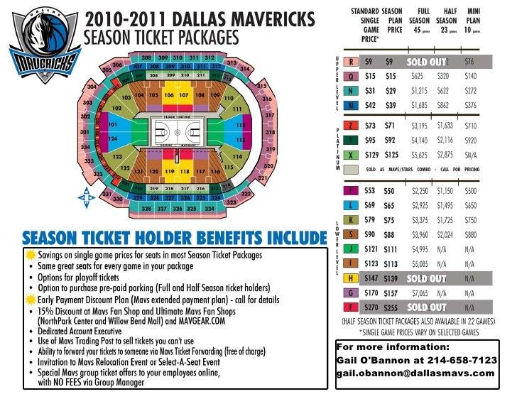 2010 2011 Dallas Mavericks Season Ticket Plan Seat Map