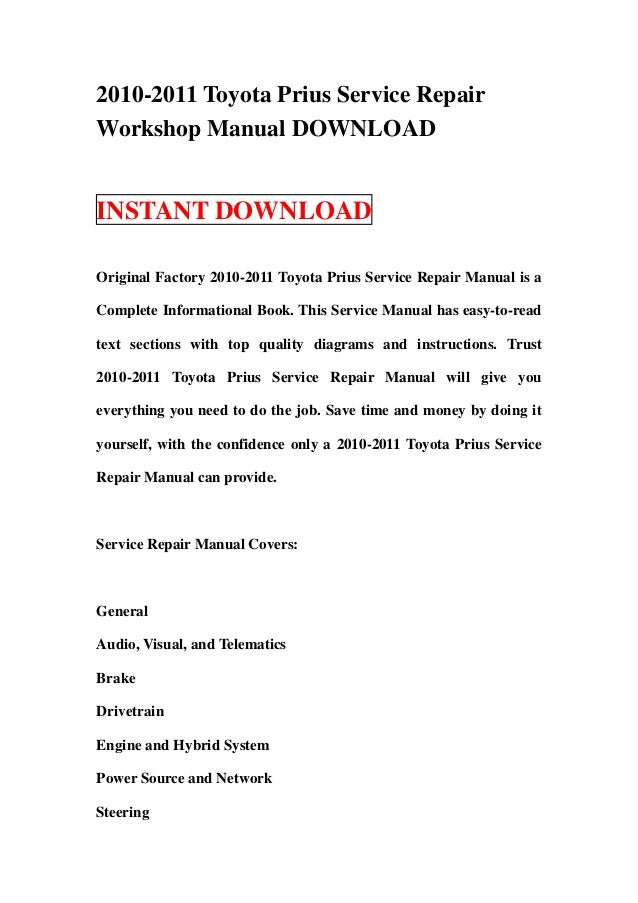 toyota service manual download free