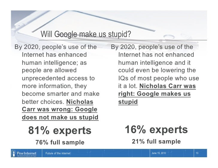 Will Google make us stupid? By 2020, people's use of the       By 2020, people's use of the   Internet has enhanced       ...