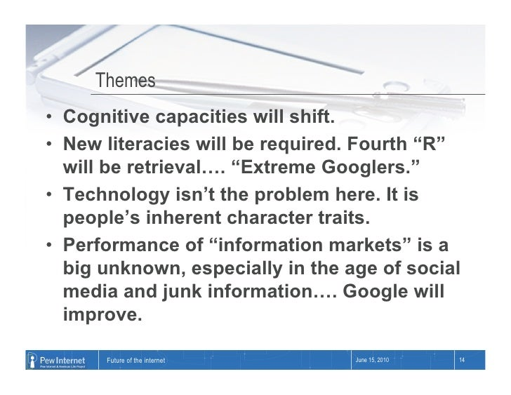 """Themes • Cognitive capacities will shift. • New literacies will be required. Fourth """"R""""    will be retrieval…. """"Extreme ..."""