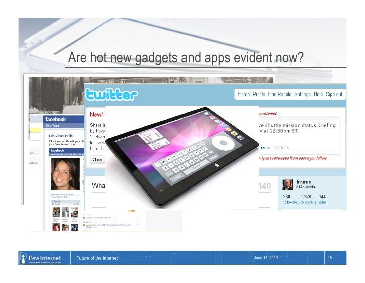 Are hot new gadgets and apps evident now?      Future of the internet         June 15, 2010   15