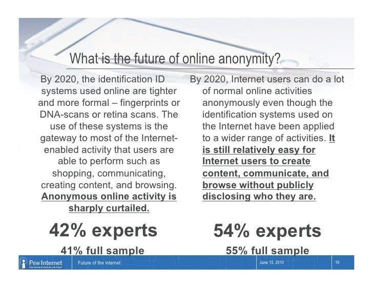 What is the future of online anonymity? By 2020, the identification ID      By 2020, Internet users can do a lot  systems ...