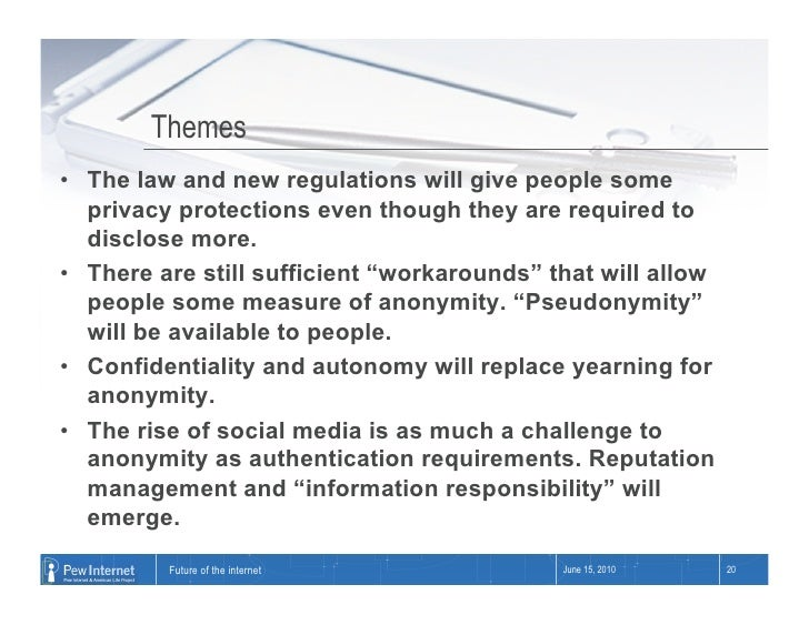 Themes • The law and new regulations will give people some    privacy protections even though they are required to    dis...