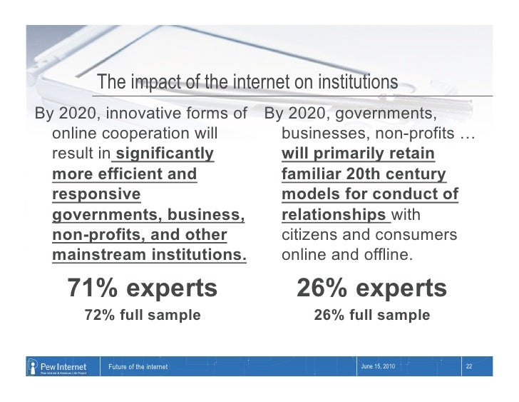 The impact of the internet on institutions By 2020, innovative forms of By 2020, governments,   online cooperation will   ...
