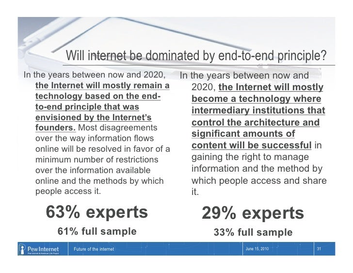 Will internet be dominated by end-to-end principle? In the years between now and 2020,          In the years between now a...