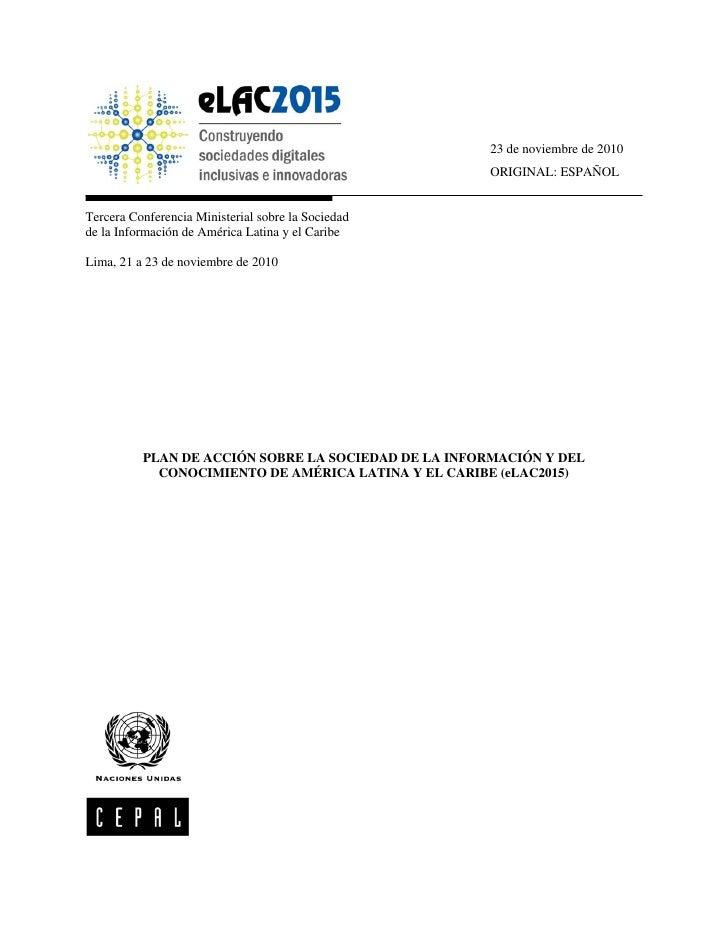 23 de noviembre de 2010                                                      ORIGINAL: ESPAÑOLTercera Conferencia Minister...