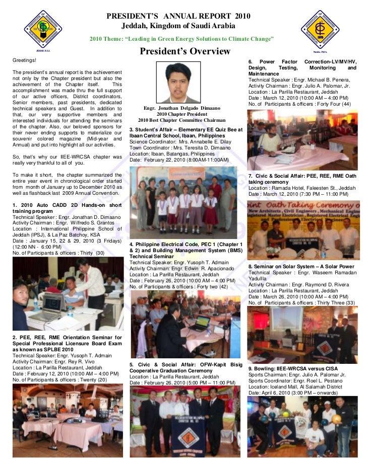 PRESIDENT'S ANNUAL REPORT 2010                                               Jeddah, Kingdom of Saudi Arabia              ...
