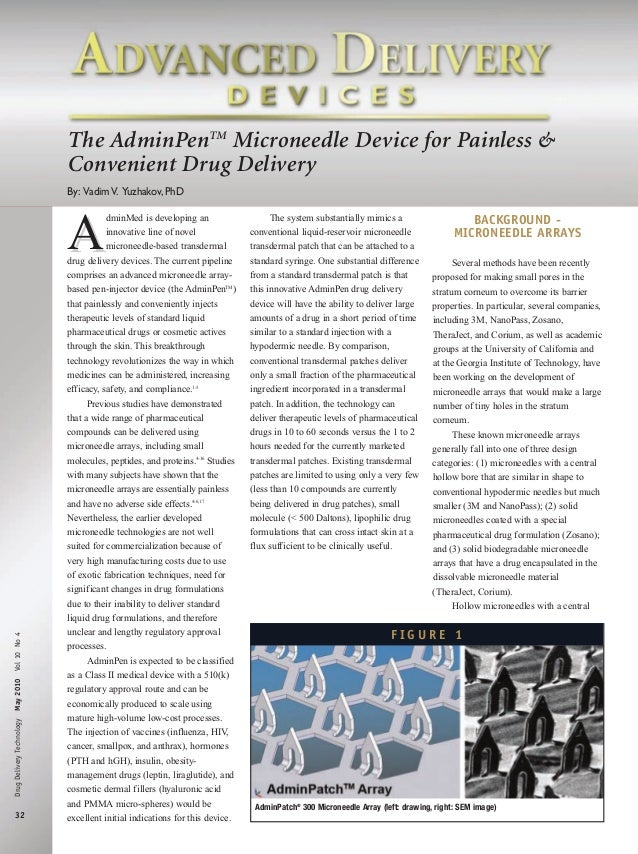 The AdminPenTM Microneedle Device for Painless & Convenient Drug Delivery By: Vadim V. Yuzhakov, PhD  Drug Delivery Techno...