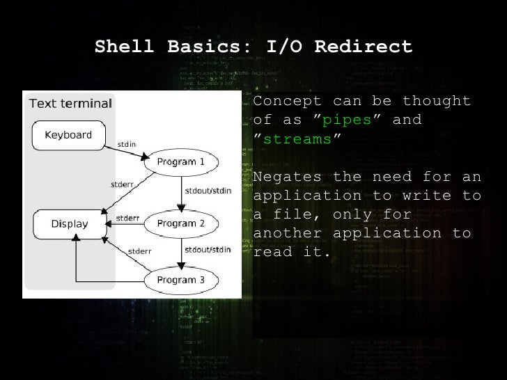 """Shell Basics: I/O Redirect Concept can be thought of as """" pipes """" and """" streams """" Negates the need for an application to w..."""