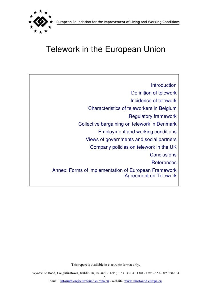 Telework in the European Union                                                                                       Intro...
