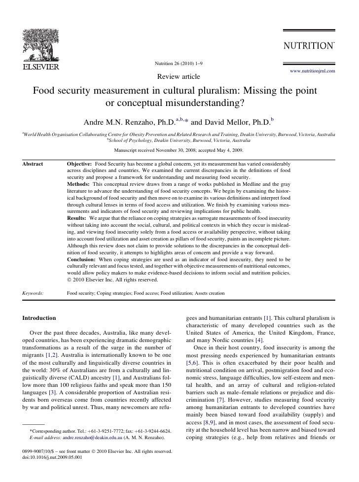 2010 food security measurement in cultural pluralism