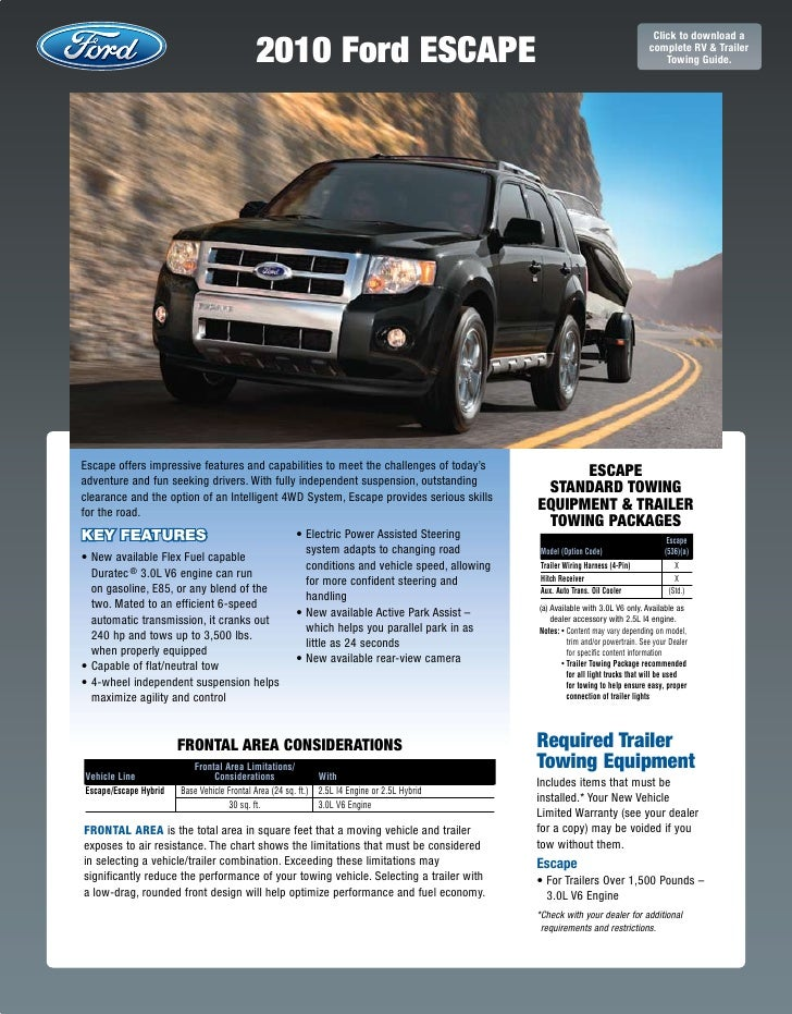 2010 ford escapre towing guide specifications capabilities rh slideshare net