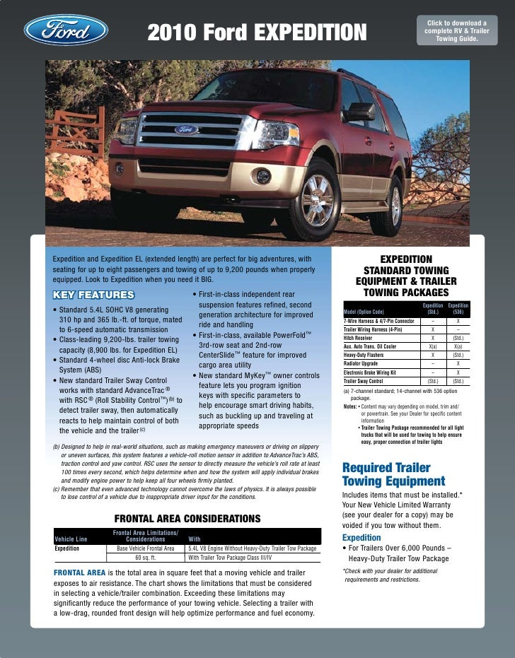 Ford Expedition Towing Capacity >> 2010 Ford Expedition Towing Guide Specifications Capabilities
