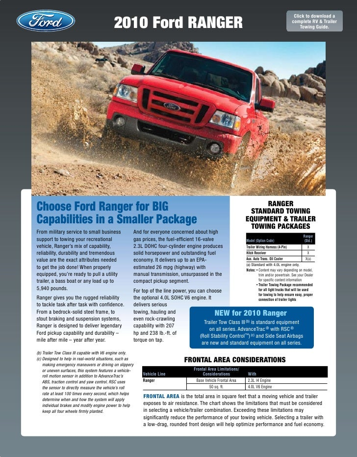 2010 Ford Ranger Towing Guide Specifications Capabilities