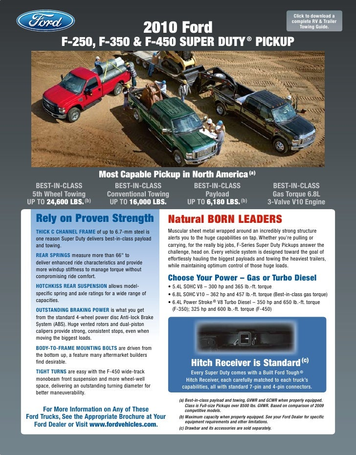 Raleigh Ford Dealer's 2010 Ford Superduty Truck Towing guide
