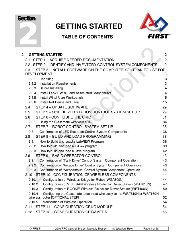 2Section                         GETTING STARTED                              TABLE OF CONTENTS 2     GETTING STARTED     ...