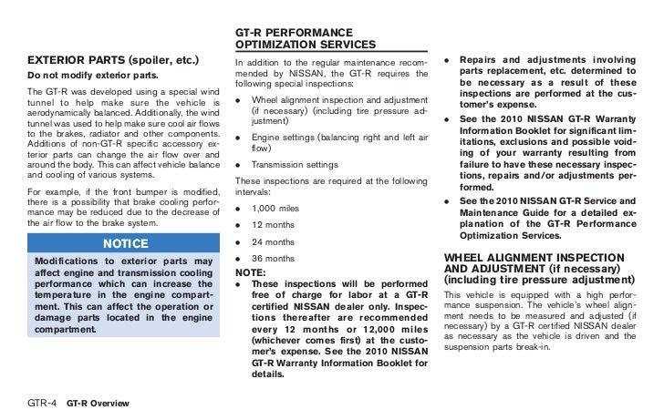 2010 nissan gtr owners manual