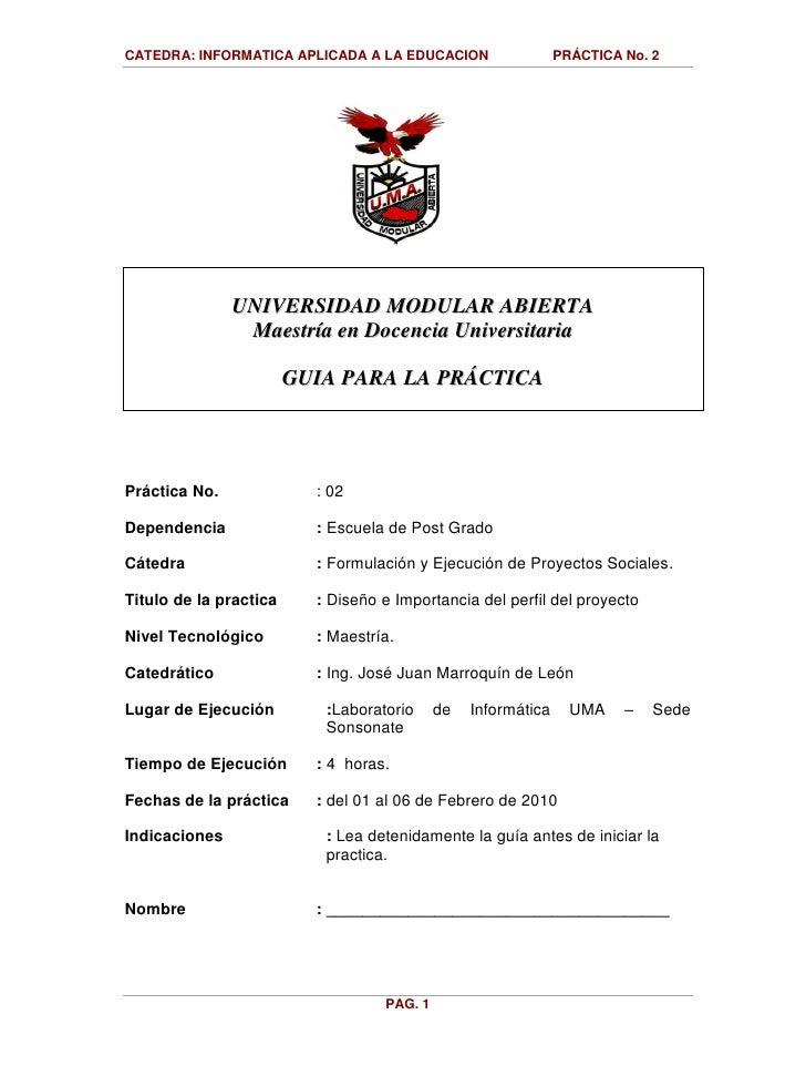 2010   Guia Practica No  2 Perfil Del Proyecto
