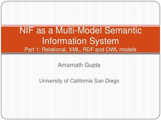 Amarnath GuptaUniversity of California San DiegoNIF as a Multi-Model SemanticInformation SystemPart 1: Relational, XML, RD...