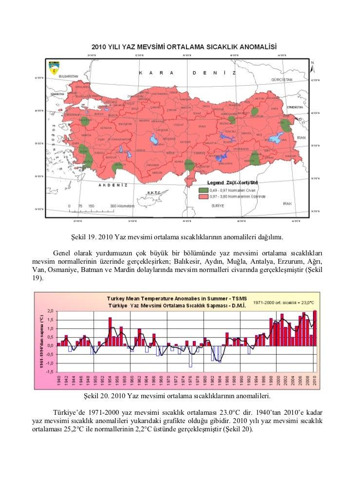 Şekil 19. 2010 Yaz mevsimi ortalama sıcaklıklarının anomalileri dağılımı.      Genel olarak yurdumuzun çok büyük bir bölüm...